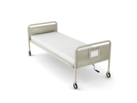 sickbed: Medical devices sickbed on white background. Stock Photo