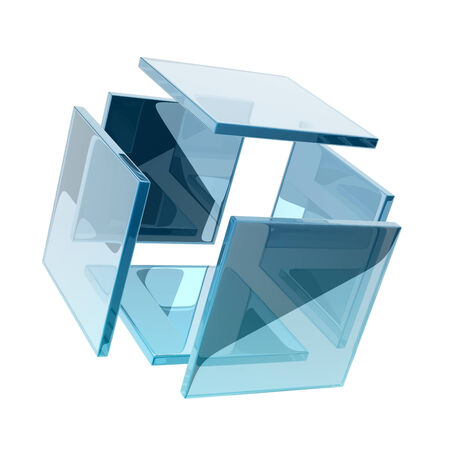 smaller: glass cube composed by smaller glass squares. Stock Photo