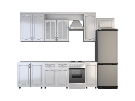 integral oven: Integral kitchen furniture on white background. Stock Photo