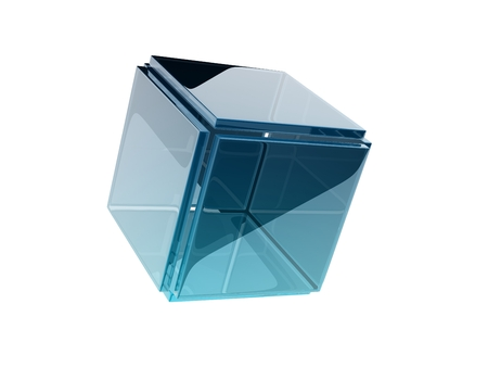 glass cube composed by smaller glass squares. photo