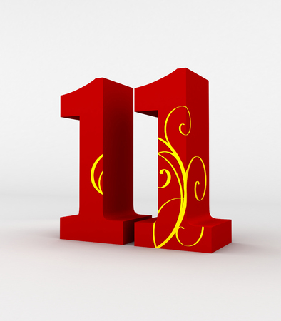 11 number: red number 11 decorated by yellow fashion pattern, isolated with white background. Stock Photo