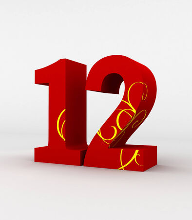 number 12: red number 12 decorated by yellow fashion pattern, isolated with white background. Stock Photo