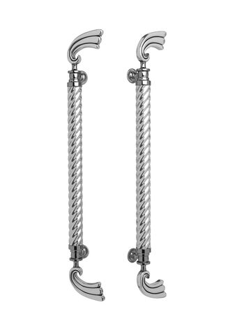 metalic: metalic doorknob in two view.