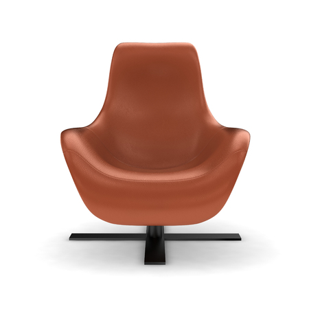 swivel: Leather swivel chair on white background.