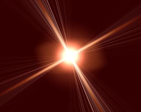 radiated: bright flare on dark background.