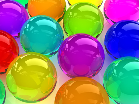 variously: 3D glass colorful spheres,digitally generated image.