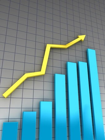 tabulation: blue histogram and yellow arrow in front of gray chart. Stock Photo