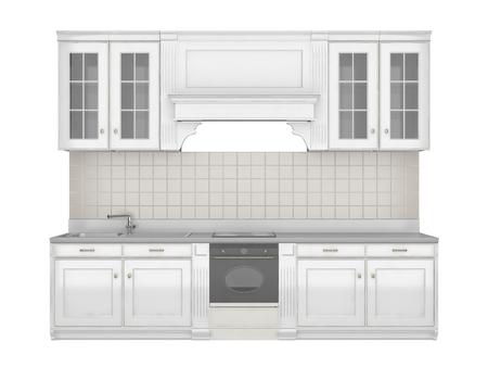 Muebles de cocina integral aislado en el fondo blanco.