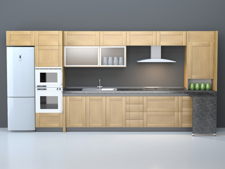 Integral kitchen furniture inside a pure room.