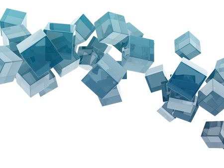 blue glass cubes isolated on white background. photo