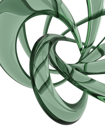 3D green glass curve surface shape isolated on white background.