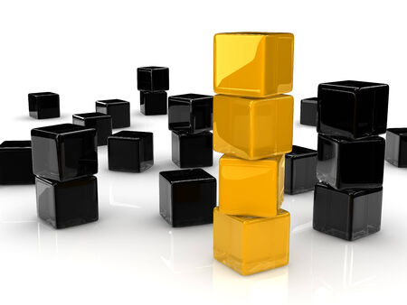 conspicuous: four yellow cubes placed observably in a group of black cubes.