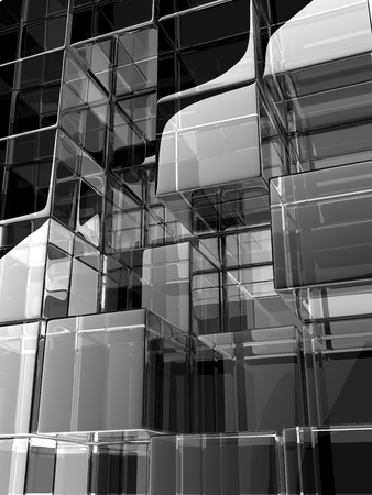 digitally generated image: 3D gray glass cubes, digitally generated image. Stock Photo