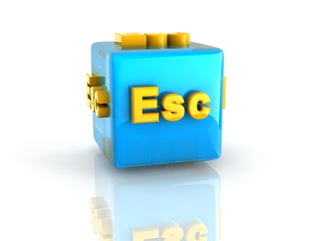 esc: gold computer key Esc on reflective blue cube isolated with white background. Stock Photo
