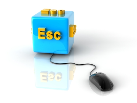 esc: gold computer key Esc on reflective blue cube with computer mouse.