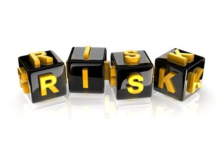 r image: giallo 3d rischio di testo sul riflettenti cubi neri. Archivio Fotografico