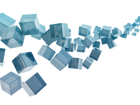 glass cubes on white background. digitally generated image. photo