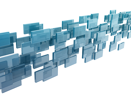 ��digitally generated image�: glass rectangles on white background. digitally generated image.