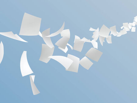3D white papers flying on sky, digitally generated image. Standard-Bild