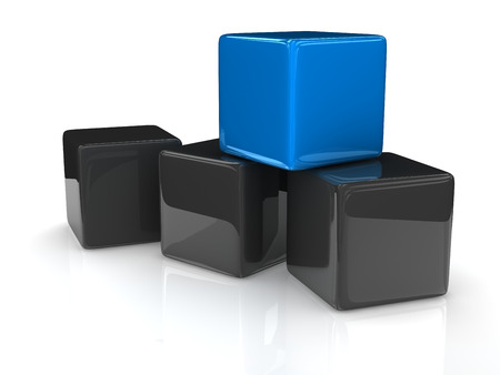 marked boxes: a blue cube placed observably in a group of gray cubes. Stock Photo