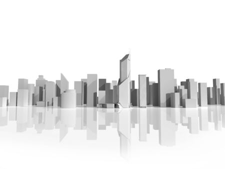 Gray 3d building model on white background, digitally generated image.