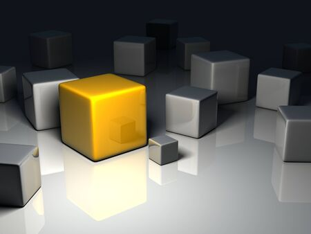 marked boxes: a yellow cube placed observably in a group of gray cubes.