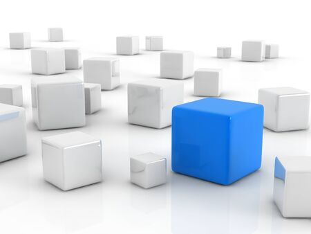 a blue cube placed observably in a group of white cubes. photo