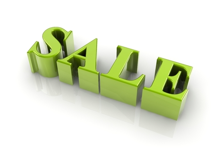 christcross: reflective 3d text SALE isolated with white background.