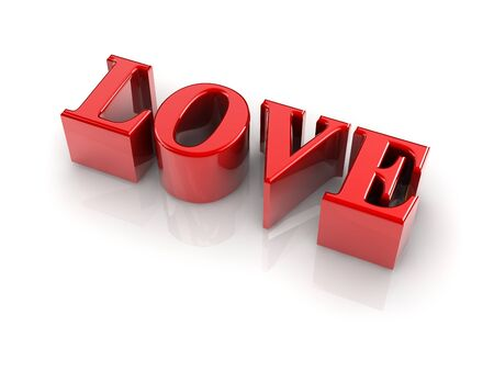 christcross: reflective 3d text LOVE isolated with white background. Stock Photo