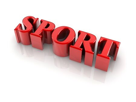 reflective 3d text SPORT isolated with white background. Stock Photo