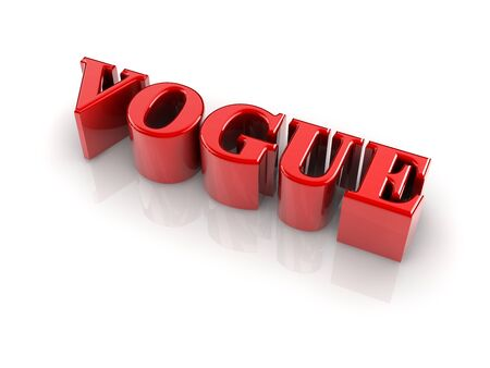 reflective 3d text VOGUE isolated with white background.