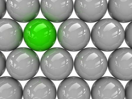 distinctive: a green sphere placed observably in a group of gray spheres.