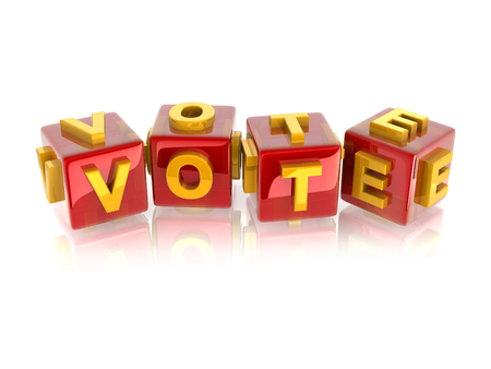 yellow 3d text VOTE on reflective red cubes. Stock Photo