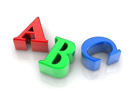 christcross: colorful text ABC signs on white background. Stock Photo