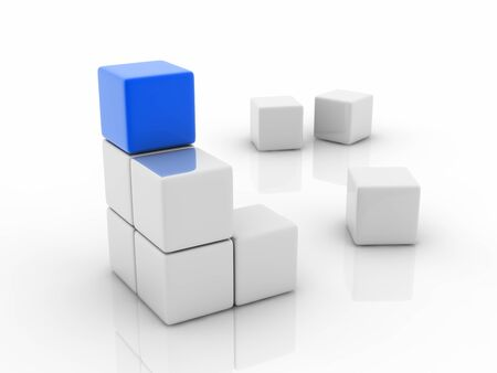 guiding light: a blue cube placed observably in a group of white cubes.
