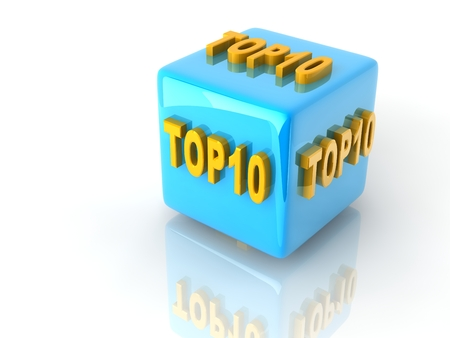 """yellow 3d text  """"TOP10 """" on reflective blue cubes. Stock Photo"""