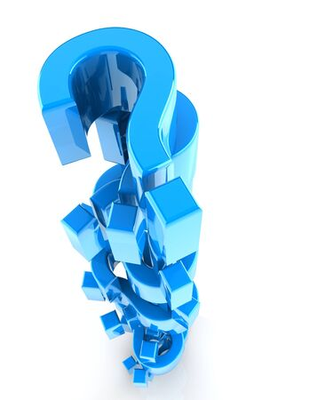 heaped: blue reflective question marks heaped together isolated with white background.