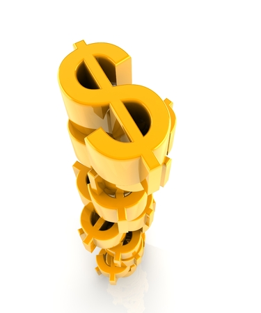 heaped: yellow dollar signs heaped together isoated with white background. Stock Photo