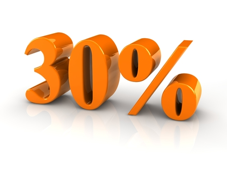 green reflective percentage sign isoated with white background. photo