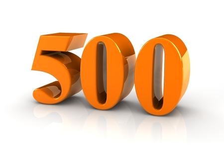 yellow metallic number 500 on white background. 版權商用圖片