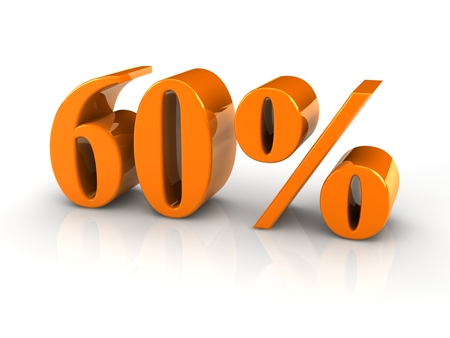 yellow reflective percentage sign isoated with white background. photo
