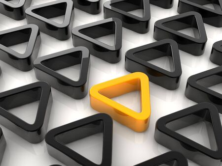 conspicuous: A yellow triangle placed observably in a group of black triangles.