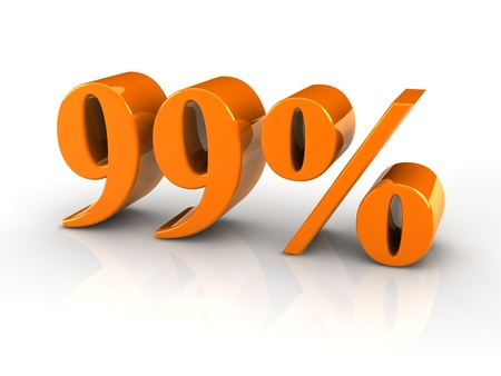 3D reflective percentage sign isoated with white background. photo