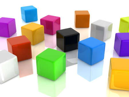��digitally generated image�: colorful cubes on white background. digitally generated image. Stock Photo