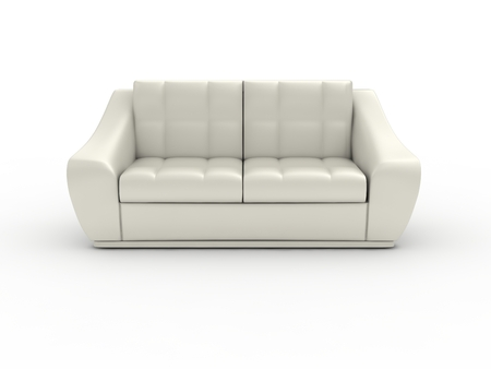 3D render double leather sofa on white background.