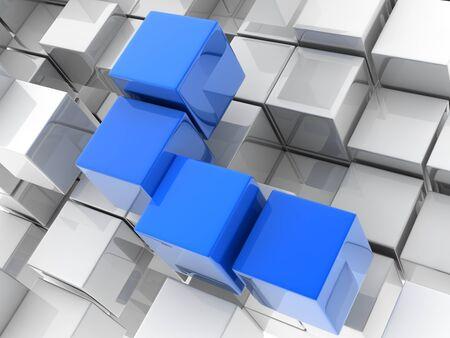 dominant: meallic cubes on white background. digitally generated image