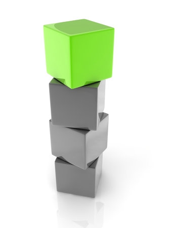 marked boxes: a green cube placed observably in a group of white cubes. Stock Photo