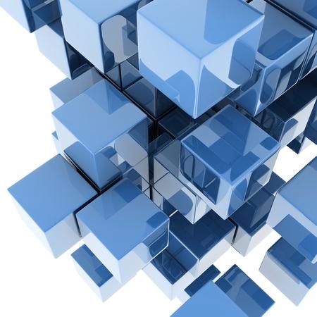 metallic cubes on white background. digitally generated image photo