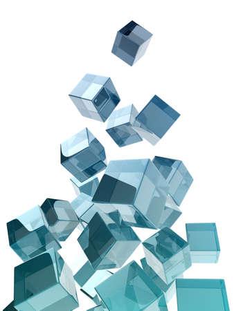 glass cubes on white background. digitally generated image photo