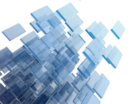 glass rectangles on white background. digitally generated image photo